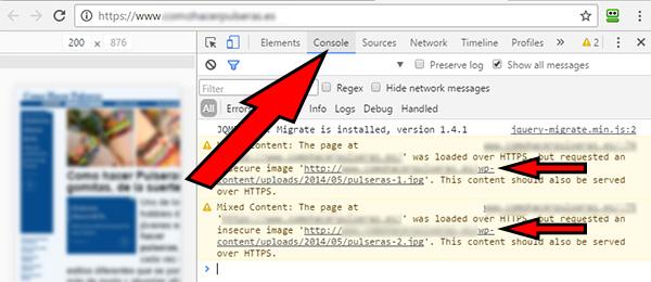 web conexión no segura detalles console 2 imágenes sin https