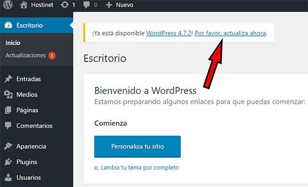 Por favor actualizar ahora WordPress 4.7.2