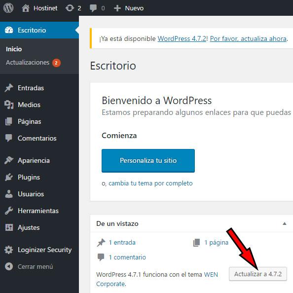 Actualizar a 4.7.2 (WordPress)