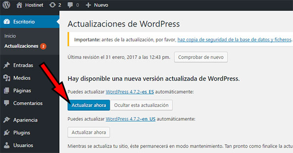 WordPress 4.7.2 Actualizar Ahora