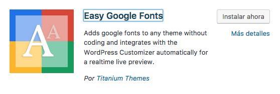 Easy Google Fonts plugin wordpress