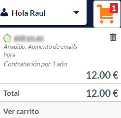 Hostinet Servicios Hosting Agregar Añadidos Aumento Emails por Hora Carrito