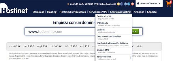 Hostinet Servicios Hosting