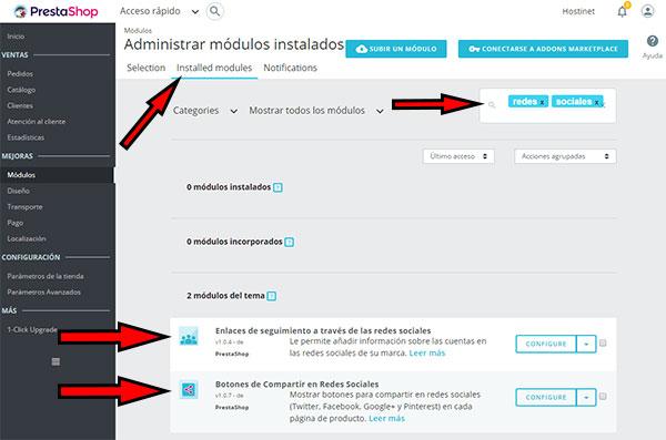 PrestaShop 1.7 Installed Modules Redes Sociales