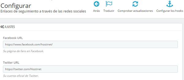 PrestaShop 1.7 Módulo Enlaces Seguimiento Redes Sociales Configuración 2