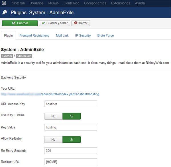 adminexile plugin seguridad backend