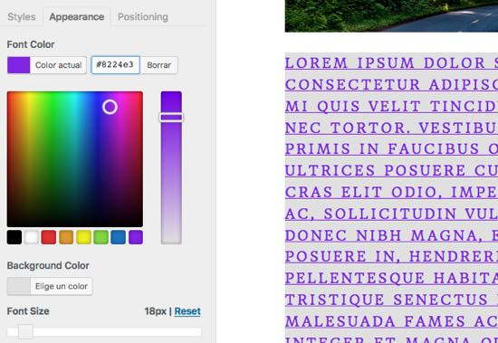 apariencia texto easy google fonts WordPress