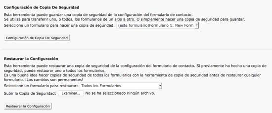 copia restauracion formulario wordpress