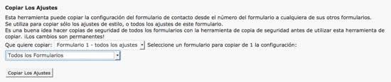 copiar ajustes formulario wordpress