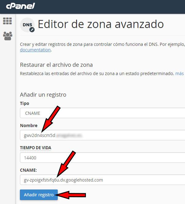 cPanel Editor Zona Avanzo Nuevo CNAME