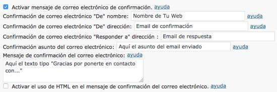 email confirmación formulario wordpress