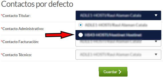 Hostinet - Mi Cuenta - Configuración - Contactos por defecto