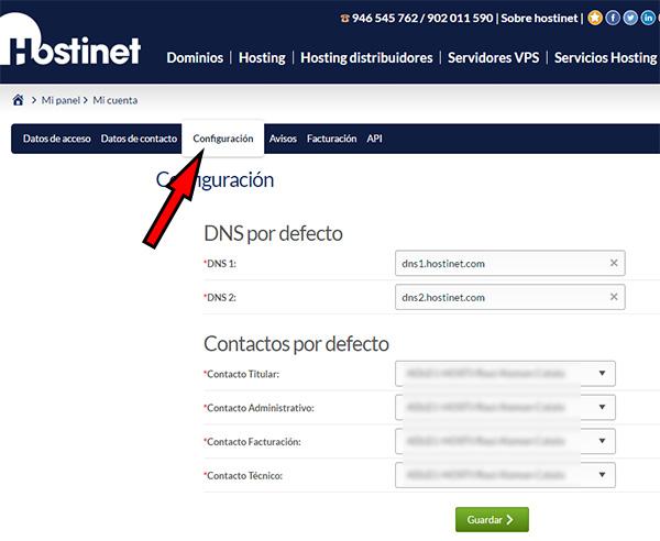 Hostinet - Mi Cuenta - Configuración