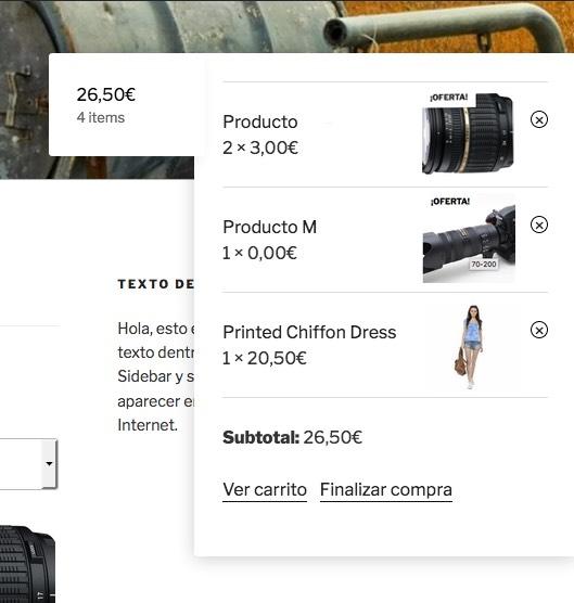 listado productos - WooCommerce Cart Tab