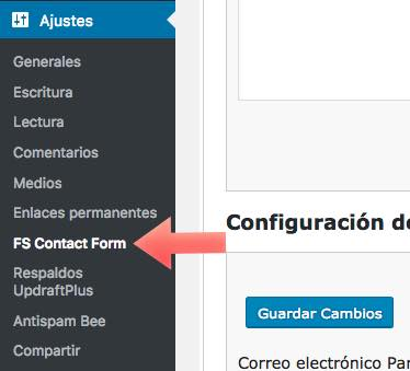 menu Fast Secure Contact Form WordPress