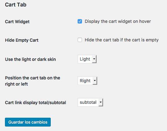 opciones cart tab WooCommerce
