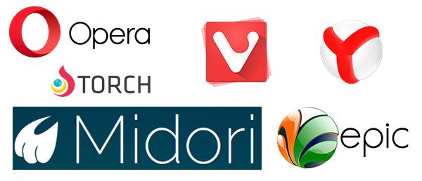otros navegadores: opera - vivaldi - midori - epic - yandex - torch