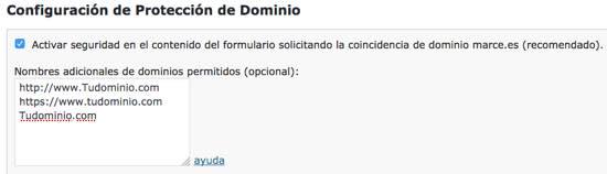 proteccion dominio formulario WordPress