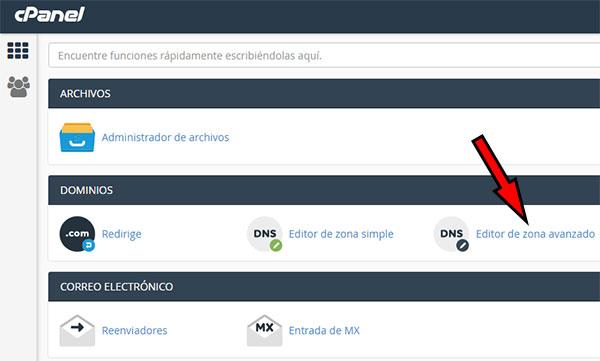 Redirección Dominio - cPanel - Editor Zona Avanzado
