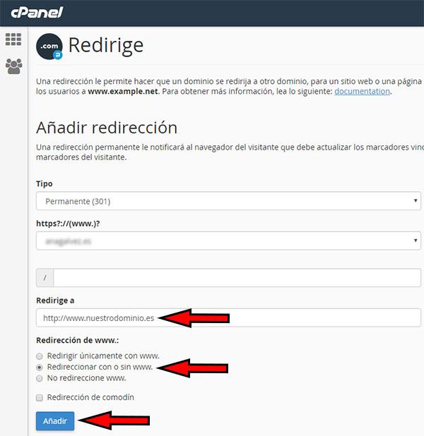 Redirección Dominio - cPanel - Redirección Registro Nuevo
