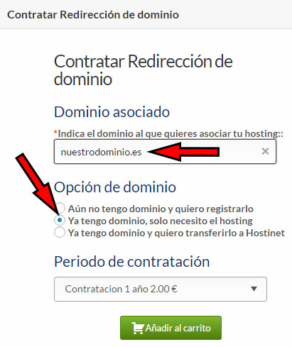 Redirección Dominio .es Contratar