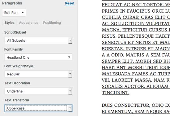 transformacion texto easy google fonts plugin