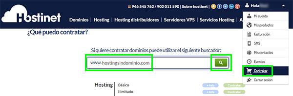 "Hostinet Contratar Hosting ""SIN Dominio"""