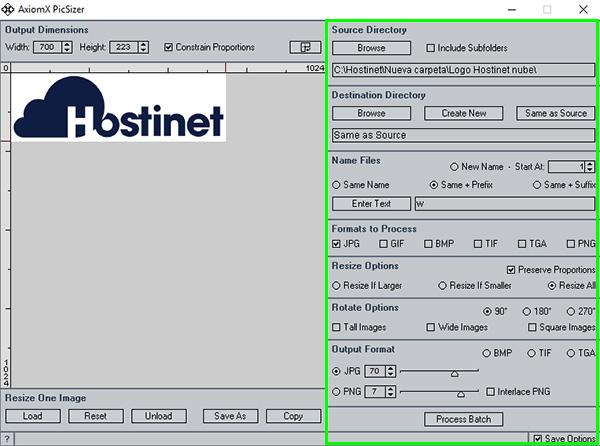 PicSizer fuente nombre compresión
