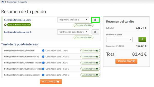 """SSD 3 Hosting """"SIN Dominio"""" Cubo Basura Dominio"""