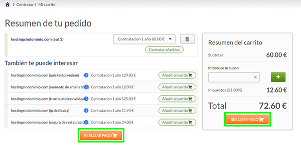 "SSD 3 Hosting ""SIN Dominio"" Realizar pago"