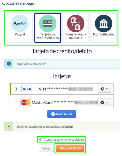 Opciones de pago Hostinet