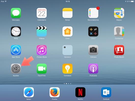ajustes ipad configurar email