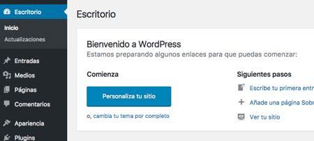 bienvenido wordpress administrador