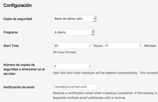 configuracion BackUpWordPress WordPress