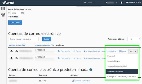 cPpanel - Cuentas de correo electrónico (acceder webmail)