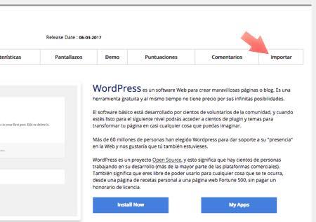 cómo importar wordpress desde Softaculous