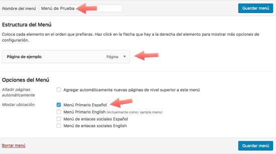 menu 1 polylang Español WordPress