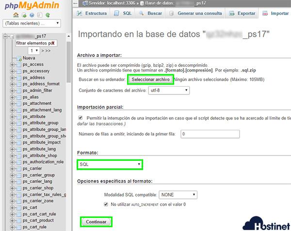 phpmyadmin bd ps17 importar opciones