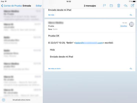 prueba correcta email enviado y recibido ipad