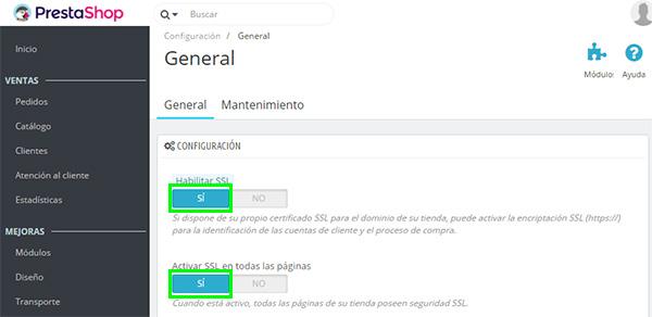 PrestaShop 1.7 Habilitar SSL Activar Todas Páginas