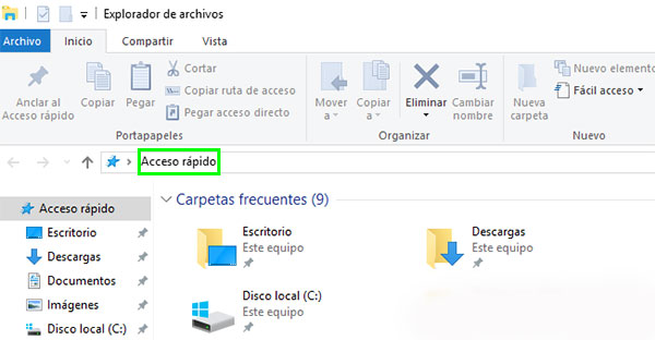 Windows 10 Acceso rápido