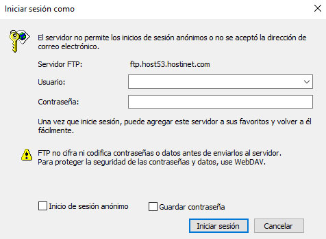 Windows 10 FTP Host Iniciar Sesión
