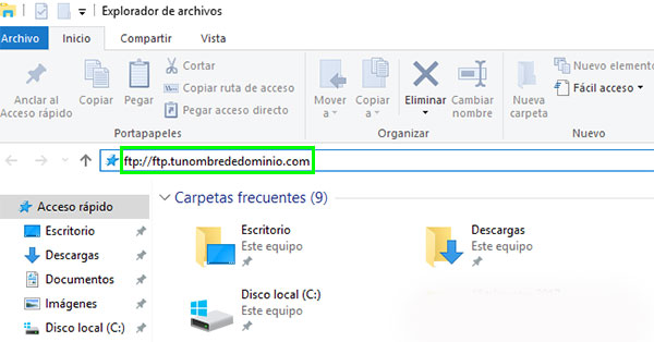 Windows 10 FTP Nombre Dominio