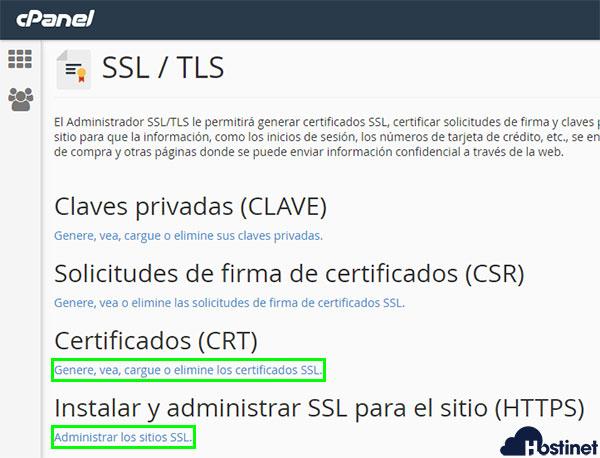 cPanel Administrar SSL