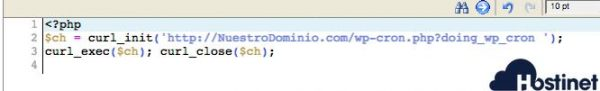 codigo wpcron editado desde el administrador de archivos
