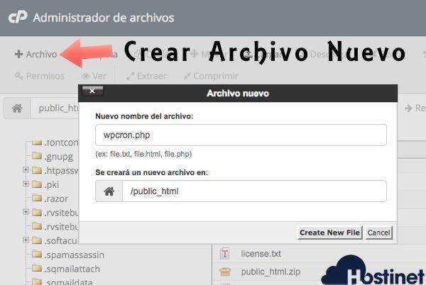 crear archivo wpcron desde el administrador de archivos de cPanel