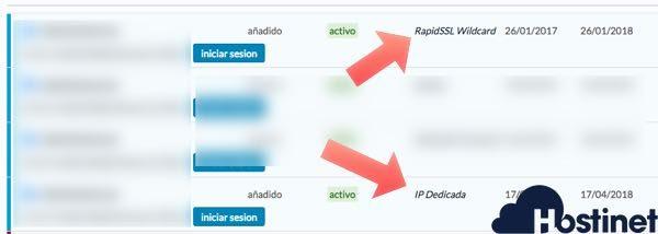 certificados ssl e ip dedicada activos en Hostinet