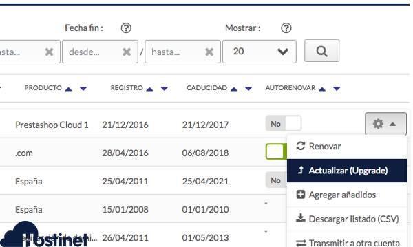 actualizar alojamiento web en hostinet