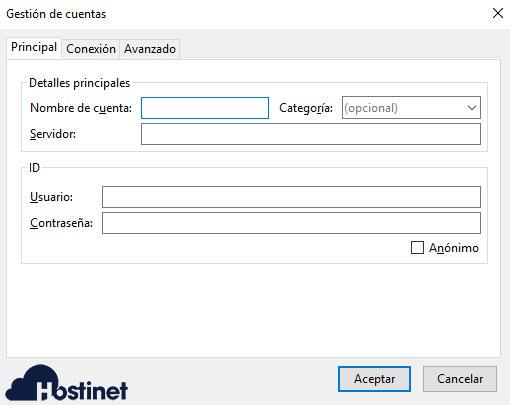 FireFTP Gestión Cuenta Principal