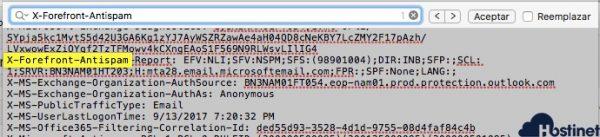 Buscar en el código X-Forefront-Antispam